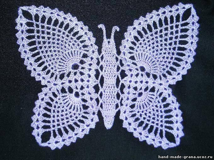 Вяжем крючком бабочки схемы.